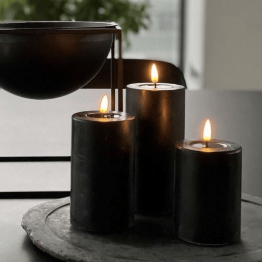 Danish Collection Black Battery Operated LED Candle