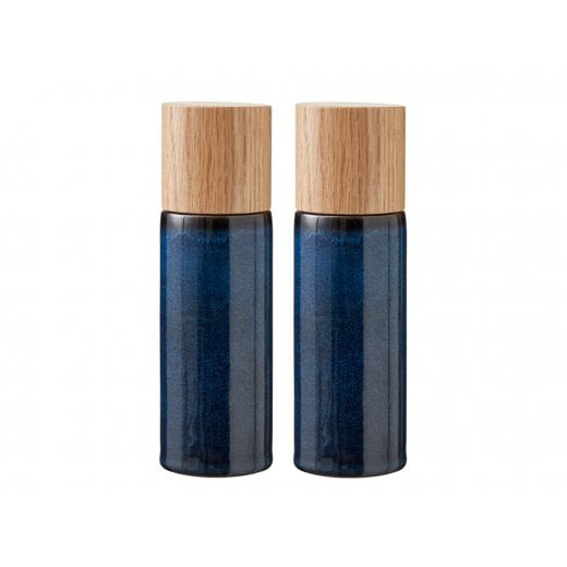Danish Collection Blue Stoneware Salt & Pepper Set