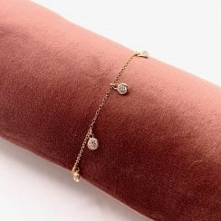 Danish Collection Bracelet With Multiple Zirconia Beads - Solid Sterling Silver Gold-plated