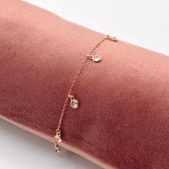 Danish Collection Bracelet With Multiple Zirconia Beads - Solid Sterling Silver Rosegold-Plated