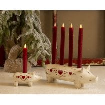 Danish Collection Candle Holder Pig For 1 Candle -  L15.5cm/H7.5cm