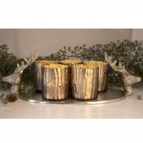 Danish Collection Candle Holder Tray With Deer - W42.5cm