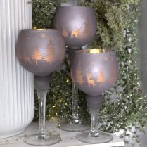 Danish Collection Candle Holders Set/3 - Frosted Grey H20cm/H25cm/H30cm
