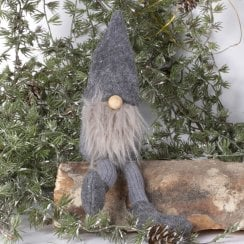 Danish Collection Carl Felt Gnome With Beard - LARGE WITH DANGLY LEGS Grey/Grey H22cm