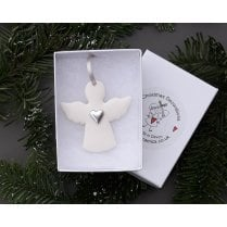 Danish Collection Ceramic Angel with Heart - White/Silver