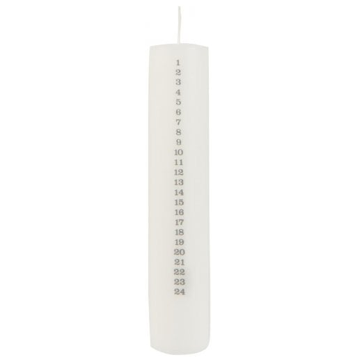Danish Collection Christmas Calendar Candle - White