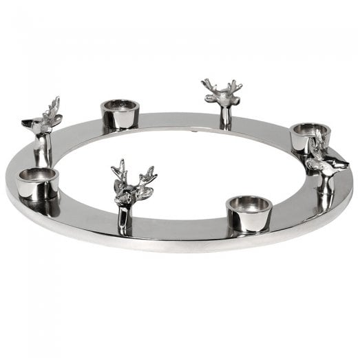 Danish Collection Circular Reindeer Candle Holder