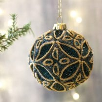 Danish Collection Dark Green Patterned Bauble