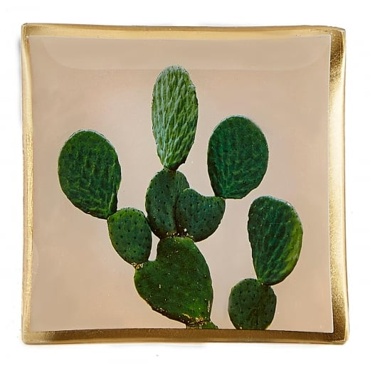 Danish Collection Decorative Glass Cactus Plate