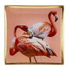 Danish Collection Decorative Glass Flamingo Plate