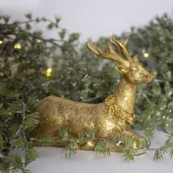 Danish Collection Deer Looking Straight Ahead - Gold H12cm