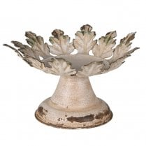Danish Collection Distressed Leaf Edge Candle Holder