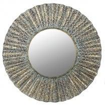 Danish Collection Distressed Metal Round Wave Mirror