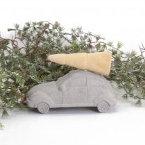Danish Collection Driving Home For Christmas Large- Concrete&Wood H8cm L14cm