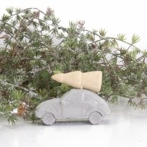 Danish Collection Driving Home For Christmas Small- Concrete&Wood H5cm L8cm