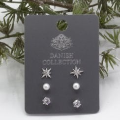 Danish Collection Earrings 3 pairs - 925 Sterling silver