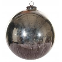 Danish Collection Extra Large Antique Glass Bauble - Silver