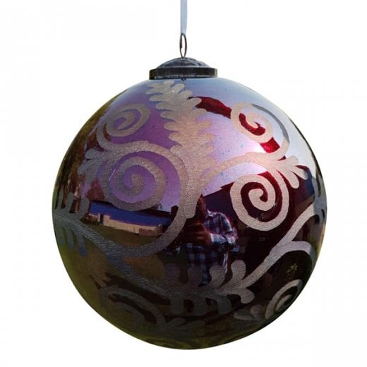 Danish Collection Extra Large Florentine Glass Bauble - Silk Red