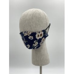 Danish Collection Face Mask - Dark Blue/White Roses
