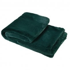 Danish Collection Faux Fur Throw - Bottle Green
