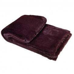 Danish Collection Faux Fur Throw - Wine