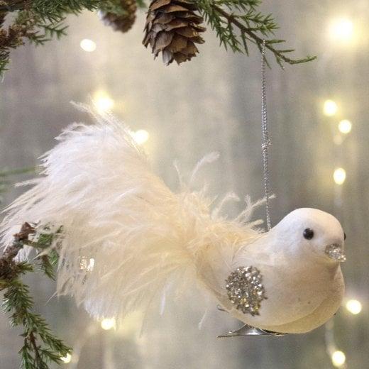 Danish Collection Feather Bird - Cream