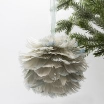 Danish Collection Feather Decoration Hanging - Sage Green D15cm