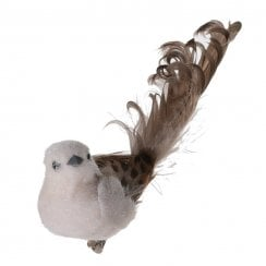 Danish Collection Feather Tail Bird with Clip - Brown