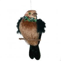 Danish Collection Feather Wing Bird with Patterned Back - Brown
