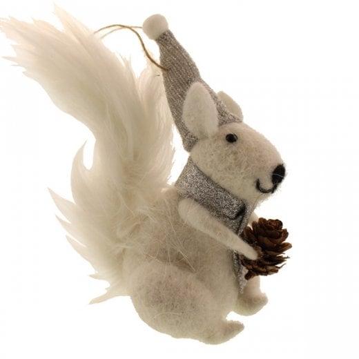 Danish Collection Felt Hanging Squirrel - White