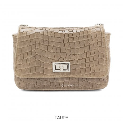 Danish Collection Flap Bag Croc - Genuine Leather - Champagne