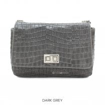 Danish Collection Flap Bag Croc - Genuine Leather - Dark Grey