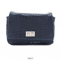 Danish Collection Flap Bag Croc - Genuine Leather - Navy Blue