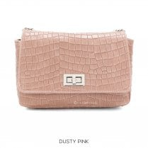 Danish Collection Flap Bag Croc - Genuine Leather - Pretty Rose