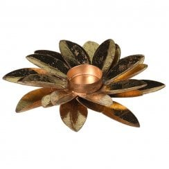 Danish Collection Flower Candle Holder - Gold