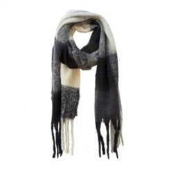 Danish Collection Fluffy Black Super Soft Checked Scarf