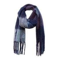 Danish Collection Fluffy Blue Checked Super Soft Scarf
