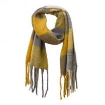 Danish Collection Fluffy Mustard Checked Super Soft Scarf