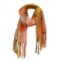Danish Collection Fluffy Orange Super Soft Checked Scarf