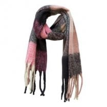 Danish Collection Fluffy Pink and Black Super Soft  Checked Scarf