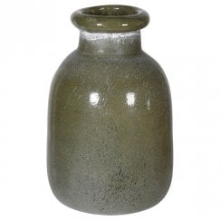 Danish Collection Frosted Glass Olive  Green Vase