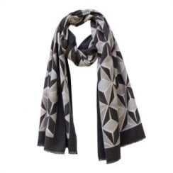 Danish Collection Geometric Print Winter Scarf Black