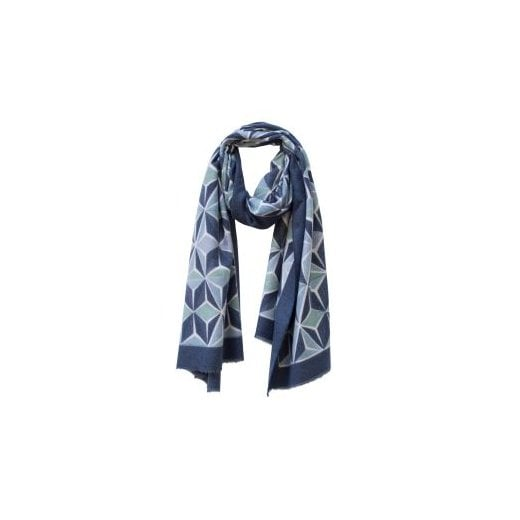 Danish Collection Geometric Print Winter Scarf Blue