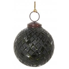 Danish Collection Glass Bauble with Aged Squares - Green