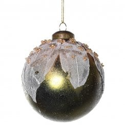 Danish Collection Glass Bauble with Decorative Leaf - Gold