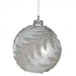 Danish Collection Glass Bauble with Fern Design - White