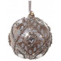Danish Collection Glass Bauble with Iced Effect - Silver