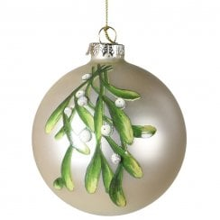 Danish Collection Glass Bauble with Mistletoe Print - Silver
