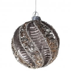 Danish Collection Glass Bauble with Swirl Design - Grey