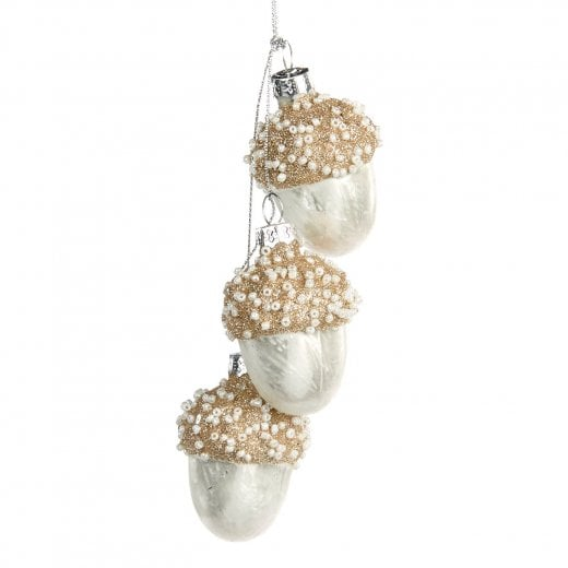Danish Collection Glass Bead Acorn Cluster - White